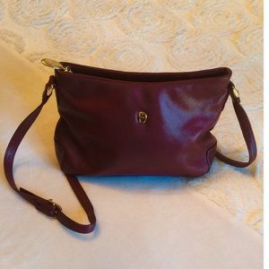 Etienne Aigner Leather Burgundy Crossbody Purse